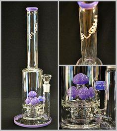 "Lavender Glass Bongs 18"" Tall In-Line to Mushroom Cross Cut Diffused Purple Slyme Water Pipes JM Flow Sci Straight Bongs Oil Rigs Hookahs"