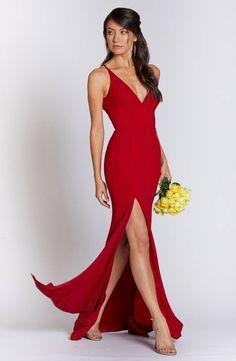 fa15771890922 Dress the Population Iris Slit Crepe Gown