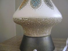 Mid Century Modern Lamp Signed 1960 Aqua and White by cherryrivers, $52.00