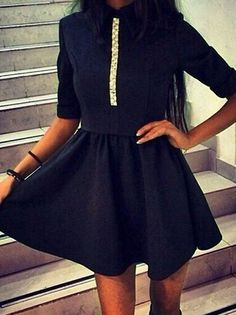 Unique Charming Turn-down Collar Short Sleeve Ball Gown Mini Party Dress on buytrends.com