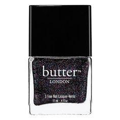 Butter London 3 Free Nail Lacquer.Colori smalti autunno 2013: il nero è perfetto anche quando è arricchito da pagliuzze multicolor.