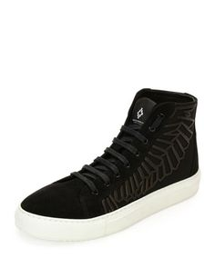 Maipu+Textured+High-Top+Sneaker,+Black/White+by+Marcelo+Burlon+at+Neiman+Marcus.