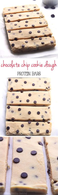 Clean-Eating Chocolate Chip Cookie Dough Protein Bars -- they taste just like cookie dough snuck straight from the bowl! Only 88 calories & almost 6g of protein!