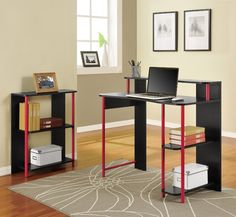 Create a complete study area or office space with this desk with bookcase from Altra. There are multiple shelves to store books and other study items as well as a larger area for a laptop or desktop computer, and a riser above the desk for pictures. Cheap Bedroom Furniture, City Furniture, Home Office Furniture, Furniture Design, Furniture Ideas, Computer Desks For Home, Wood Computer Desk, Student Desks, Bedroom Desk