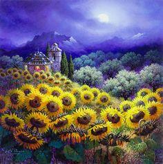 Luis Romero. Nocturno con girasoles: levkonoe Landscape Illustration, Landscape Art, Landscape Paintings, Sunflower Art, Cottage Art, Spanish Artists, Naive Art, Illustrations, Creative Art