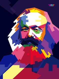 "5 May 1818 – 14 March Karl Marx ~ ""Men make their own history, but they do not make it just as they please; they do not make it under circumstances chosen by themselves, but under circumstances directly encountered, given and transmitted from the past"" Geometric Art, Pop Art Portraits, Colorful Portrait, Karl Marx, Propaganda Posters, Wpap Art, Che Guevara Art, Portrait Art, Pop Art"