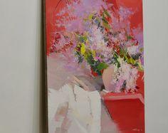 Pittura a olio rosso pittura, pittura di Lilla, primavera, fiorisce la pittura su tela, pittura floreale olio ancora vita opere d'arte moderna e contemporanea