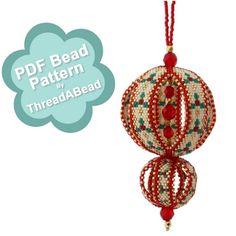 Bead Pattern: Festive Balls Christmas Beaded Ornament by ThreadABead on Etsy https://www.etsy.com/listing/200443438/bead-pattern-festive-balls-christmas