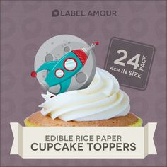 24 Cupcake Toppers Birthday Party Cake Decoration Rocket Space