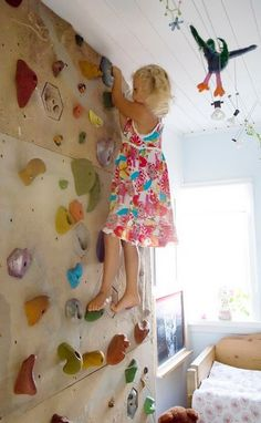 What kid (or me) doesn't want a climbing wall in their room?!