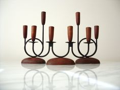 Vintage Luthje Denmark Teak Candle Holder Set of 3 Danish Teak and Metal Mid Century Candlestick Holders Danish Wood Candelabra Candle Holder Set, Candlestick Holders, Candelabra, Candlesticks, Table Centers, Better Together, Table Centerpieces, Retro Style, Black Metal