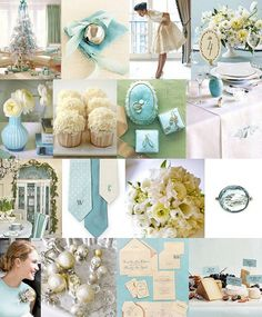 Muted Tiffany blue with iridescent ivory. Add pops of coral