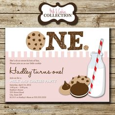 Pink Milk and Cookies Birthday Party Photo by designingforpeanuts, $13.00