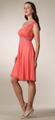 Coral Bridesmaid Dress Short Knee Length Greek Style Casual Dress 88 dolares