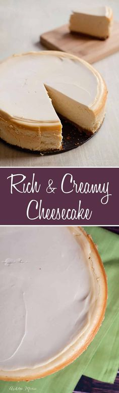everyone loves cheesecake, this recipe is always a hit, rich, creamy and simply divine. a full video tutorial and all the tips and tricks to get a perfectly cooked cheesecake with no cracks EVERY TIME Creamy Cheesecake Recipe, Homemade Cheesecake, Cheesecake Bars, Cheesecake Recipes, Köstliche Desserts, Holiday Desserts, Dessert Recipes, Dessert Simple, Cooking Light Recipes