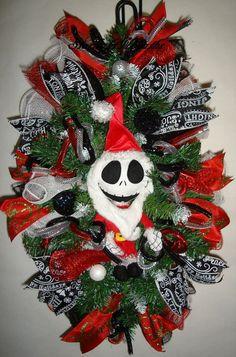 Jack Skellington Christmas Swag Wreath by StarlightWreaths on Etsy