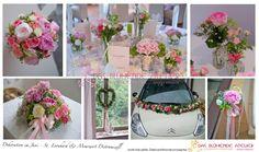 Hochzeitsdeko in rosa tönen creme hellgrün aus Pfingstrosen Hortensien Rosen | das-bluehende...