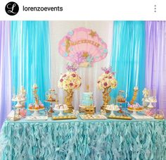 Mermaid Baby Shower Dessert Table and Decor