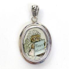 Broken China Jewelry Beatrix Potter Ms Tiggy Winkle Sterling Pendant