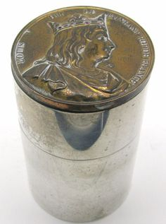 Antique Sterling Silver & Ruby Tea Caddy w/ 1838 Louis V France Caqué Medal