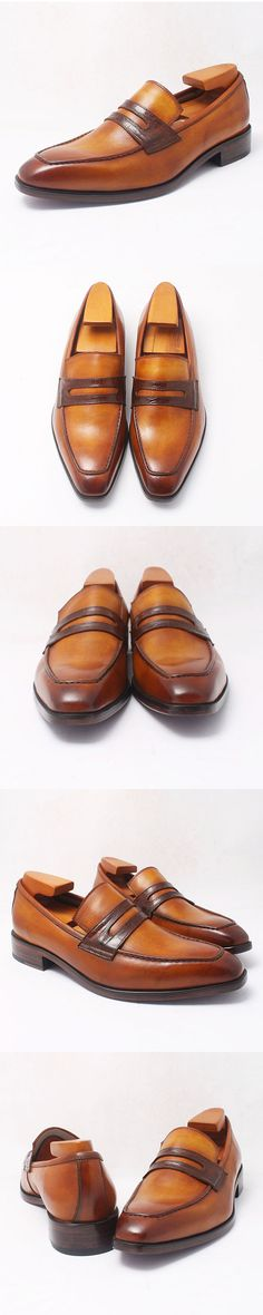 c8595258032  handmade brown  patina penny  loafer Gentleman Shoes