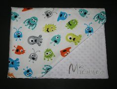 Personalized Cute Monsters Minky Soft Cotton Flannel Blanket