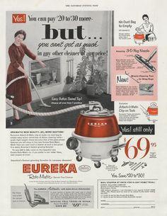 1954 Eureka Vacuum Cleaner Ad 1950s Housewife By Advintagecom