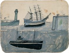 Threads of a story: Alfred Wallis 1855-1942. He had no formal art training and was discovered by Ben Nicholson, I really enjoy the naive quality of this work, unfortunately his paintings didn't sell in his lifetime and he died in poverty in the workhouse. He is now recognised as one of the important 'St Ives' painters.