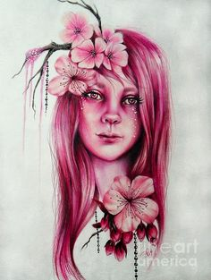 """© Sheena Pike """"cherry blossom"""" From My Pixie Blossoms Series #sheenapikeart #popsurrealism #panpastel #drawing #cherryblossom #floral #pink #pretty Prints available for Purchase All artwork on this board is the original artwork of Sheena Pike. ©Sheena Pike All Rights Reserved. The work in this Gallery is protected by Canadian and International Copyright laws."""