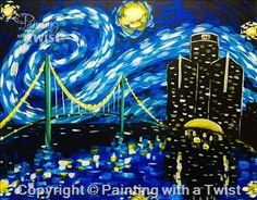 Starry Night Over the Detroit River   5/23/2015