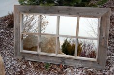 Window Pane Mirror - Reclaimed Barnwood with 8 Panes, 46x36 [RBM10x10-4x2] : MyBarnwoodFrames.com | Rustic Furniture and Rustic Home Decor, Unique Rustic Furniture, Rustic Wall Decor and Reclaimed Barnwood Frames