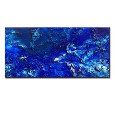 Original Textured BLUE Abstract Painting by newwaveartgallery