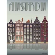 ViSSEVASSE - Amsterdam Canal Houses Print (£48) ❤ liked on Polyvore featuring home, home decor and wall art