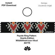 peyote ring pattern,PDF-Download, #477R, 2 variants,beading pattern, valentine pattern,hearts-edition,beading tutorials,pdf,bellepatterns von bellepatterns auf Etsy