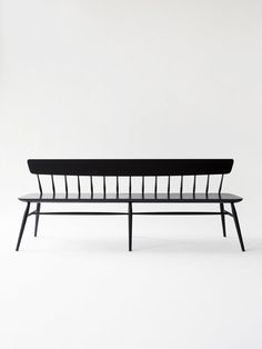 Long Windsor Bench by Moving Mountains design studio. A contemporary take on the traditional Windsor seating design. With an especially beautiful black matte lacquer finish. Bench Furniture, Chair Bench, Dining Bench, Dining Room, Windsor Bench, Black Bench, City Farm, Black And White Interior, Mountain Designs