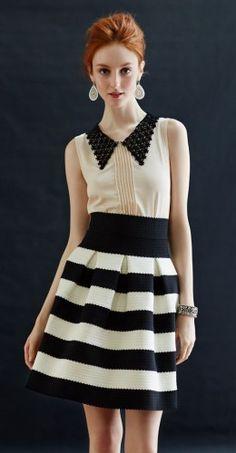 Striped. Chic nautical theme bridesmaid's dress idea.