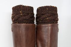 Brown Tweed Cable Knit Boot Cuffs, Boot Topper Socks, Brown Women's Accessories on Etsy, £15.63