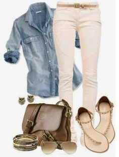Simple Spring outfit, love the pastel pink jeans. Spring Outfits For School, Cute Spring Outfits, Stitch Fix Outfits, Look Fashion, Spring Fashion, Womens Fashion, Fashion Trends, Cheap Fashion, Pink Pants Outfit