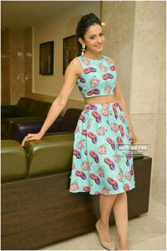 Rakul preet Singh Jeans Frock, Skirt Fashion, Fashion Outfits, Urban Outfits, Kid Outfits, Teenager Outfits, Short Frocks, Marriage Dress, Girl Trends