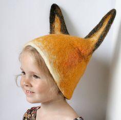 Fox Hat Hand Felted Wool Size Medium/Large by vaivanat on Etsy