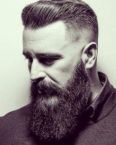undercut hairstyle with longbeard