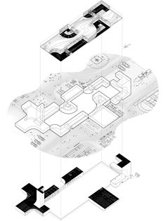 San Francisco Fire Department Headquarters Proposal,Axonometric.Simultaneous Worm's-eye/ Bird's-eye view showing inscribed volume and activated surface