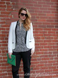 White tuxedo blazer + silky track pants / Little Daily Reflections