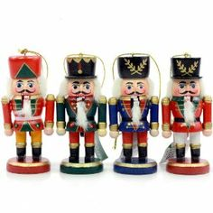 """WOODEN NUTCRACKER ORNAMENT SET OF 4 - Christmas Ornament by Kurt Adler. $8.92. measures approx 4"""". SET OF 4. MADE OF WOODEN MATERIAL. WOODEN NUTCRACKER ORNAMENT SET OF 4"""