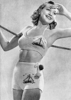 1940's knitted Two-Piece Bathing suit