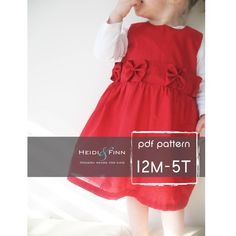 What a sweet Dress! This pattern is for the Perfect Holiday Dress. This dress features a slightly fitted body,gathered skirt, pretty bow detail and