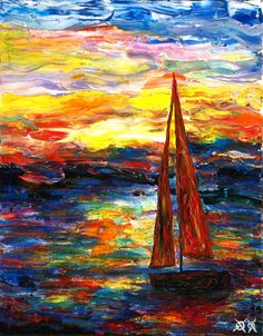 Sailing Painting by John Bramblitt Blind with epilepsy and can paint these beautiful paintings