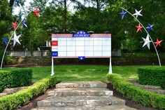 Score board for backyard 4th of July party