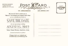 My save the date postcards (back)