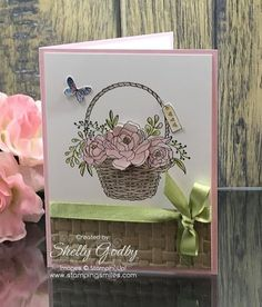 Stampin' Up! Blossoming Basket card designed by Shelly Godby of www.stampingsmiles.com . Handstamped greeting cards with roses made with Stampin' Up! Blossoming Basket Stamp Set